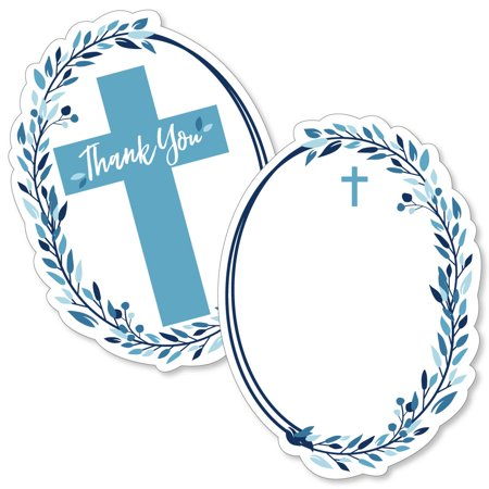 Blue Elegant Cross - Shaped Thank You Cards - Boy Religious Party Thank You Note Cards with Envelopes - Set of (Elegance Cards)
