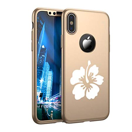 91a88873c7c 360° Full Body Thin Slim Hard Case Cover + Tempered Glass Screen Protector  for Apple iPhone Hibiscus Flower (Gold