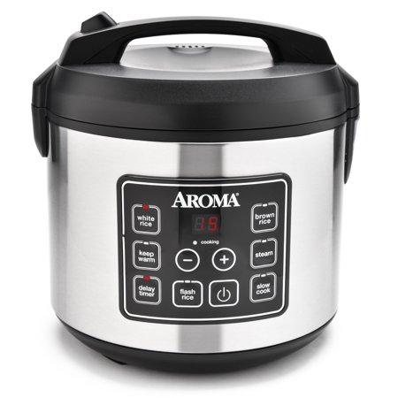Aroma Stainless Steel 20 Cup Programmable Rice Cooker & Steamer, 4 Piece ()