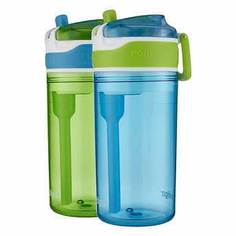 Ocean Blue Cup (Contigo Snack Hero Tumbler, 2-pack 13oz Drink  Size With Built-in 4oz Snack Cup (Blue) )