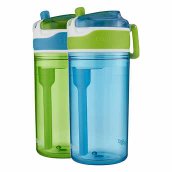 Contigo Snack Hero Tumbler, 2-pack 13oz Drink  Size With Built-in 4oz Snack Cup (Blue)