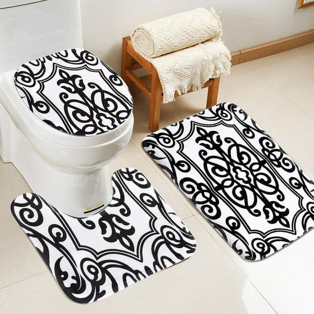 3PCS Sea Snail Soft Bath Non-slip Pedestal Mat Lid Cover Carpet Bathroom Rug US