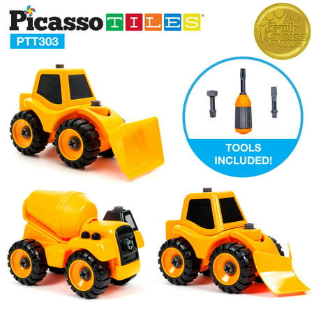 PicassoTiles PTT303 3-In-1 Educational Constructible DIY Take-A-Part Truck Set