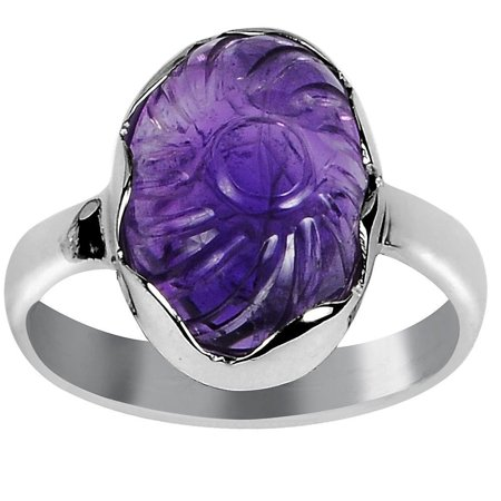 Orchid Jewelry Mfg Inc Orchid Jewelry 925 Sterling Silver Statement 6 3/20 Carat Flower-carved Amethyst Ring