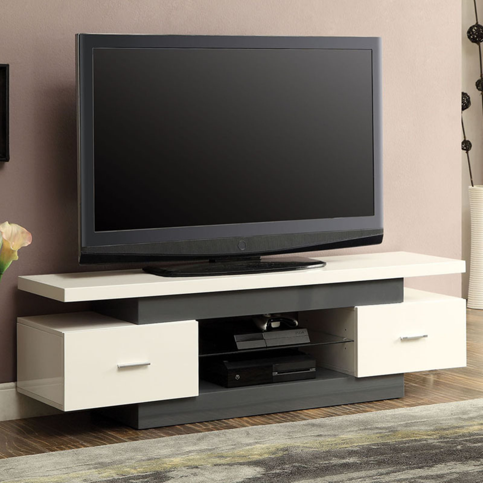 "Acme Vicente TV Stand for TVs up to 49"", White and Gray"