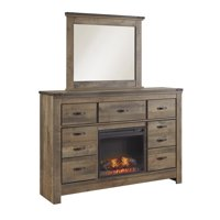 Ashley Furniture Trinell Dresser with Fireplace Option Brown