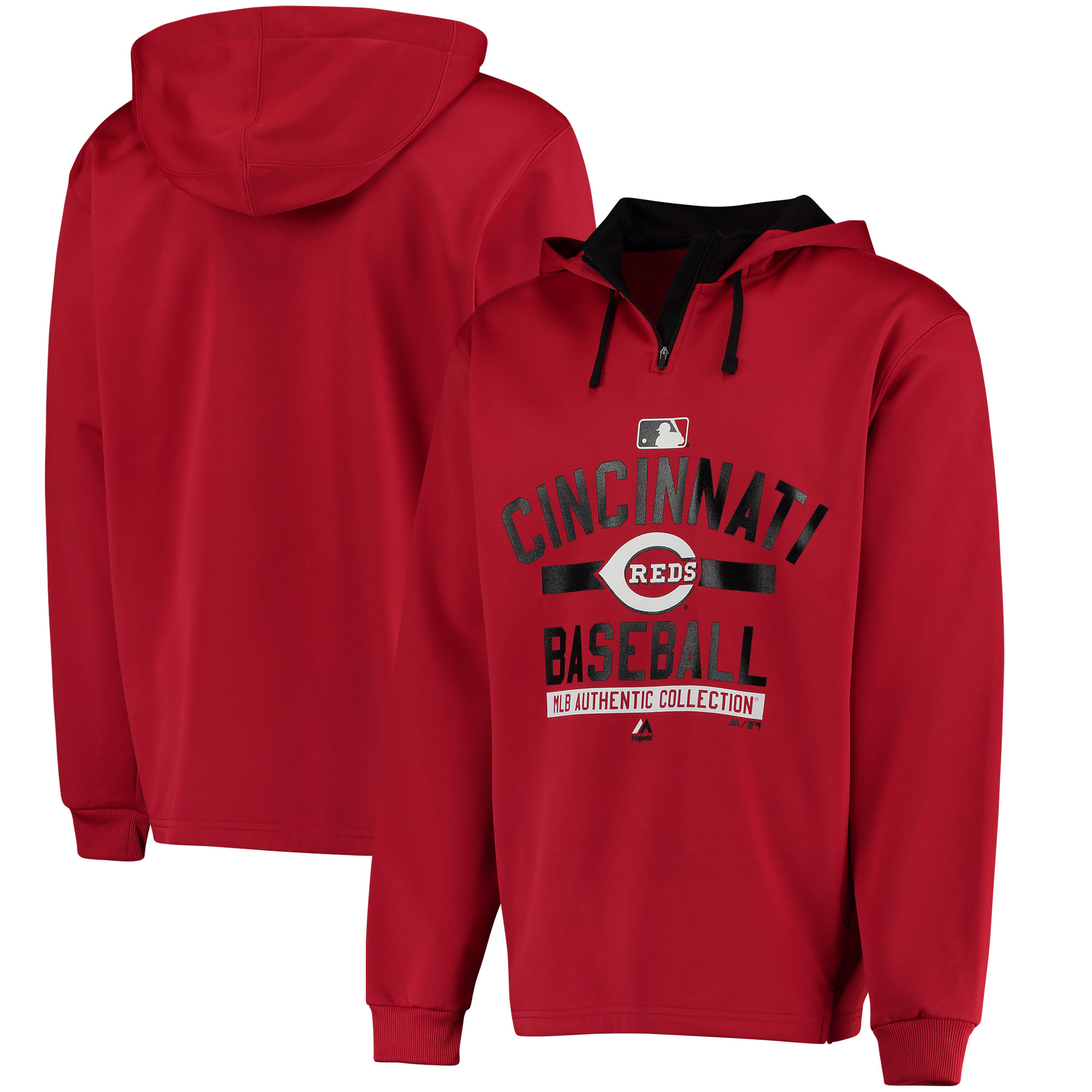 Cincinnati Reds Majestic Authentic Collection Team Property On Field Colorblock Therma Base Hoodie - Red