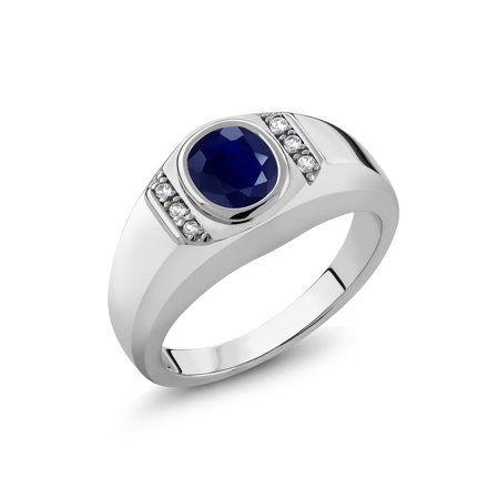 1.85 Ct Oval Blue Sapphire White Created Sapphire 925 Sterling Silver Men's Ring