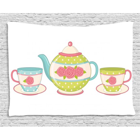 Sunday Afternoon Tapestry (Tea Tapestry, Classic Porcelain Teapots with Floral Ornamental Cups for Vintage Feminine Afternoon, Wall Hanging for Bedroom Living Room Dorm Decor, 60W X 40L Inches, Multicolor, by Ambesonne)