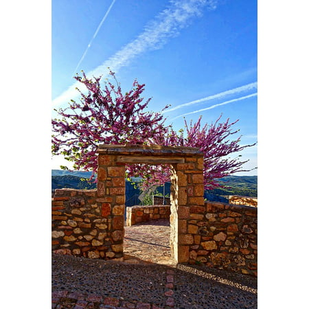 Canvas Print Archway Red Blossom Entrance Stone Facade Frame Stretched Canvas 10 x 14](Halloween Archway Entrance)