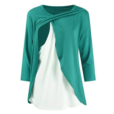 Jchiup Promotional Maternity Nursing Wrap Long Sleeve Cross Double Layer Blouse T Shirt Top