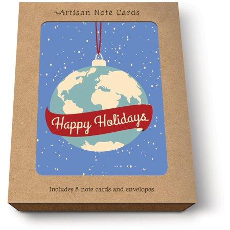 studio oh happy holidays globe artisan christmas cards box of 8