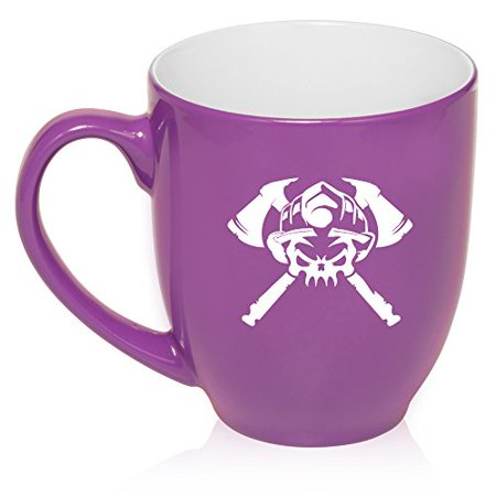 16 oz Large Bistro Mug Ceramic Coffee Tea Glass Cup Firefighter Skull (Purple)
