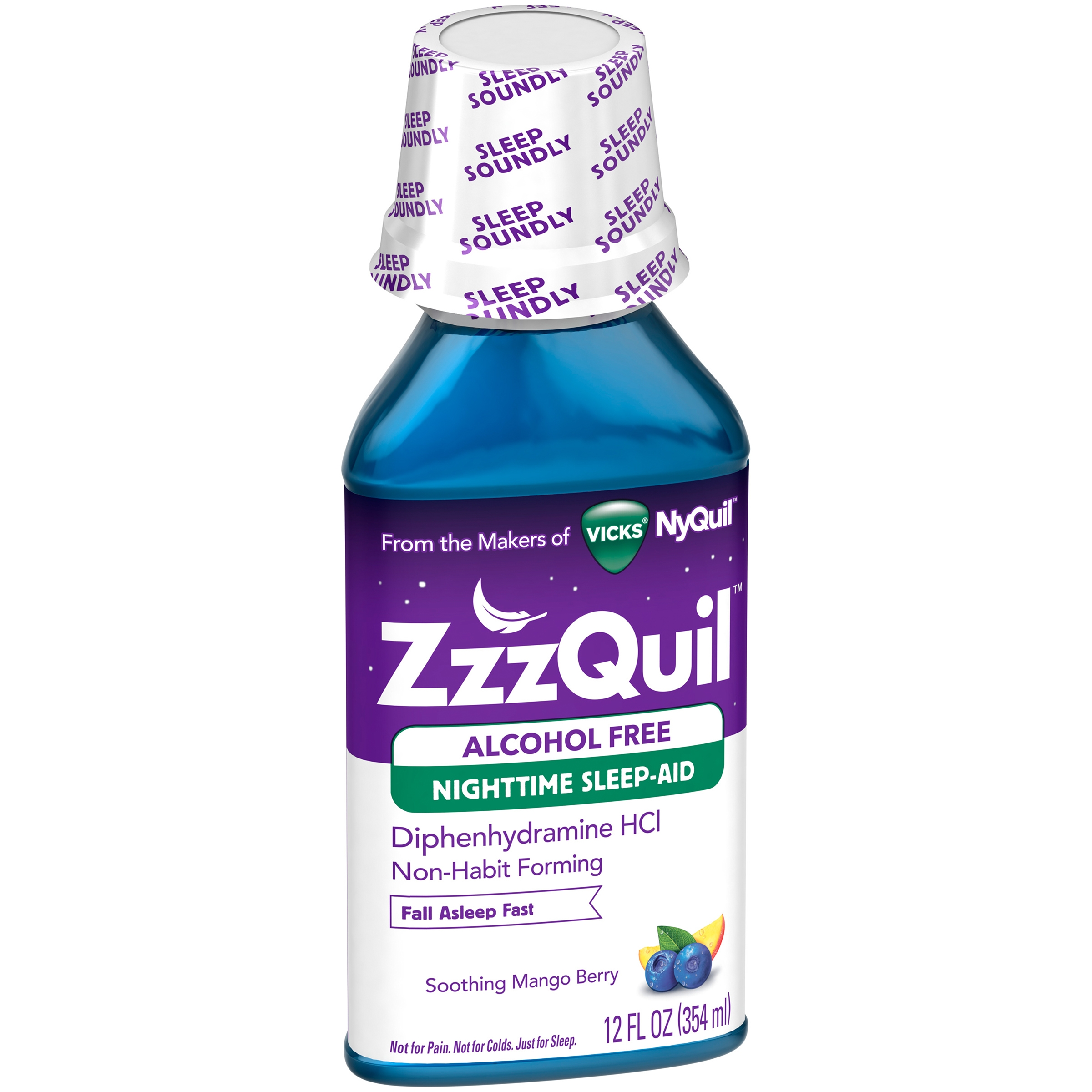 ZzzQuil Nighttime Sleep-Aid Alcohol Free Soothing Mango Berry Liquid, 12 fl oz
