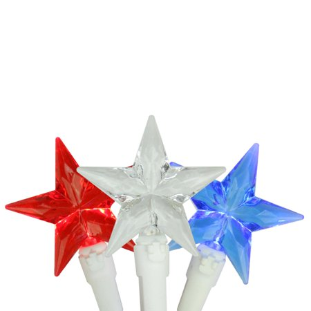 Set Of 30 Red  White   Blue 4Th Of July Patriotic Led Star Lights   White Wire