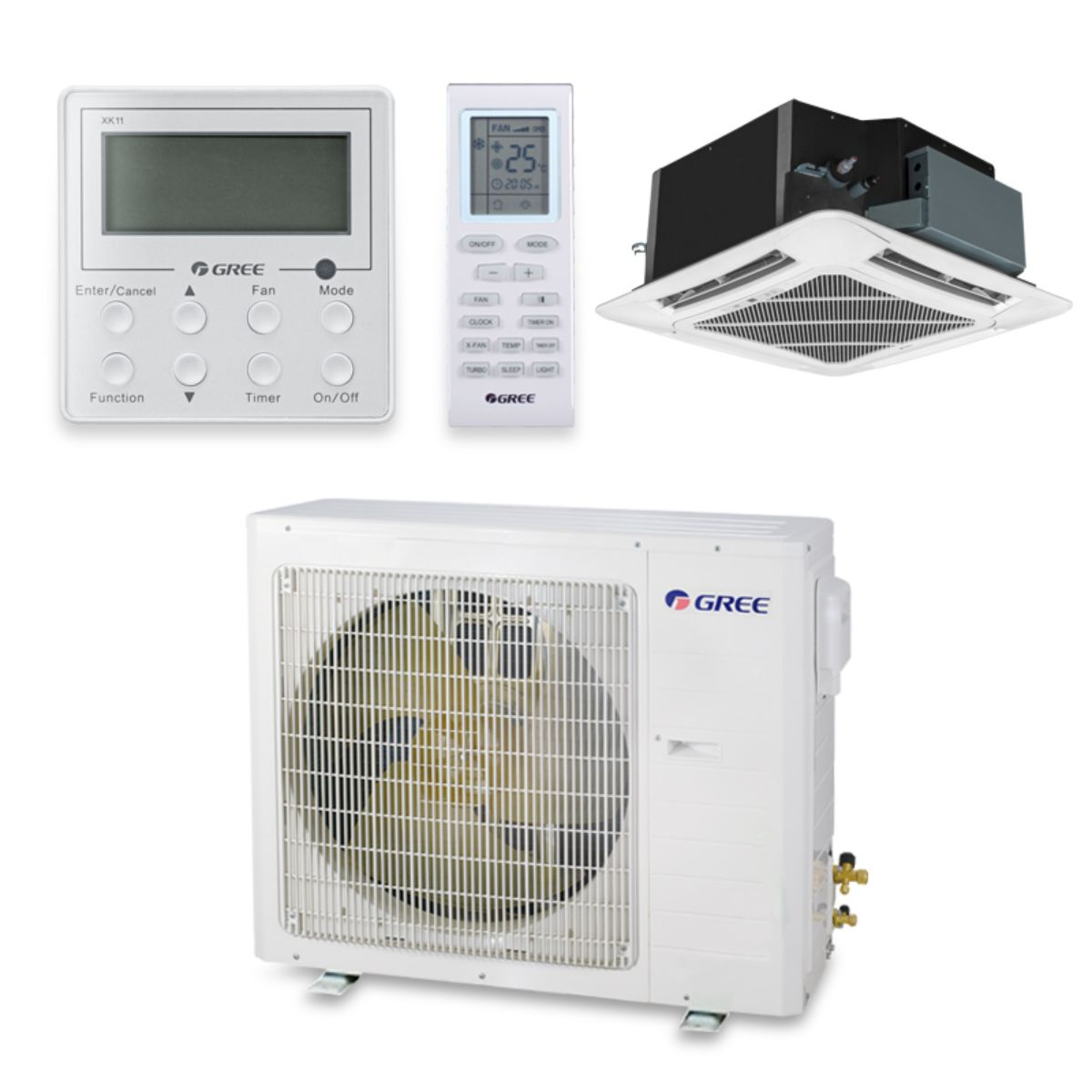 Gree UMAT36HP230V1AC-S - 36,000 BTU 16 SEER Ceiling Cassette Ductless Mini Split Air Conditioner Heat Pump 208-230V