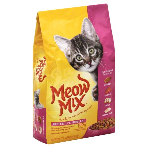 Meow Mix Kitten Li'l Nibbles Dry Cat Food, 3.15-Pound Bag