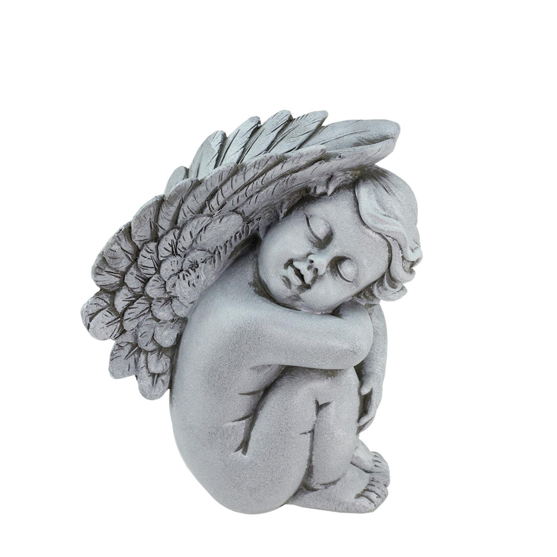 "7"" Heavenly Gardens Gray Right Facing Sleeping Cherub Angel Outdoor Patio Garden Statue by Northlight"