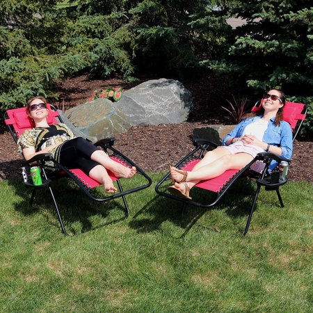 Sunnydaze Red Outdoor Zero Gravity Lounge Chair with Pillow and Cup Holder, Set of Two ()