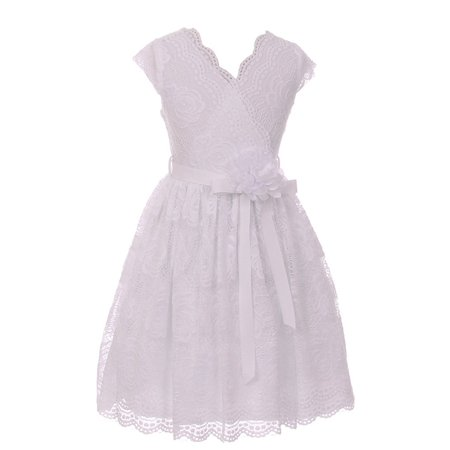 Little Girls White Flower Border Stretch Lace Special Occasion Dress](Little Girls White Dresses)