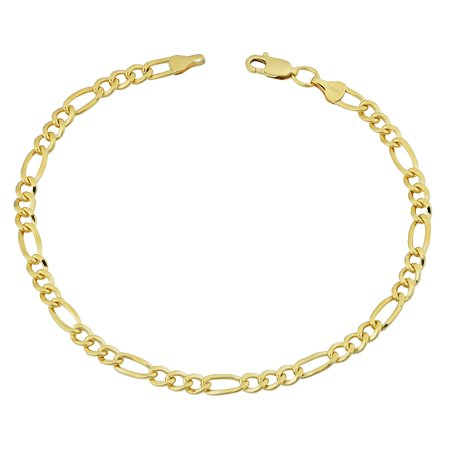 14K Yellow Gold Filled Solid Figaro Chain Bracelet, 4.0 mm, 8.5