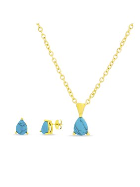 "Lesa Michele Women's Simulated Blue Turquoise Teardrop Shape Stud Earring with Matching Pendant 16""L Chain Necklace Set in Yellow Gold IP Plated Stainless Steel"