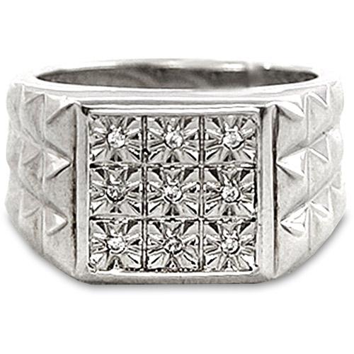 Men's White Diamond Accent Nine-Stone Sterling Silver Ring
