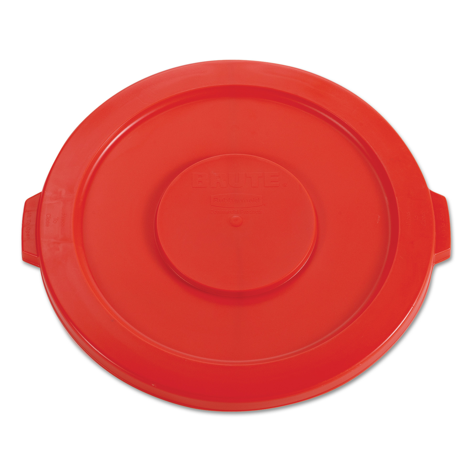 """Rubbermaid Commercial Round Flat Top Lid, for 32-Gallon Round Brute Containers, 22 1/4"""", dia., Red"""