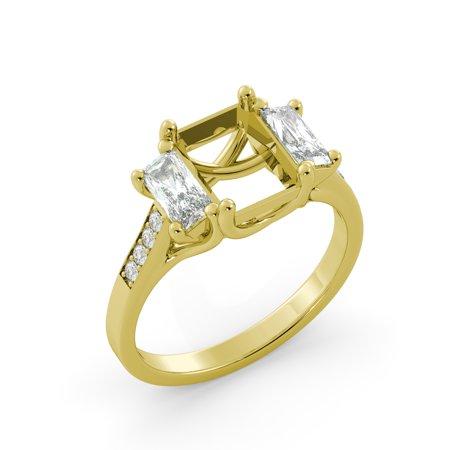 Emerald Semi Mount Ring - Emerald 3 Stone Semi Mount Round Diamond Engagement Ring Solid 14k Yellow Gold