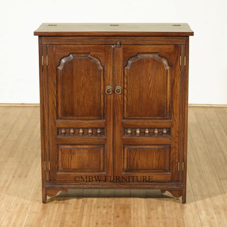 Antique Oak TV Media Entertainment Cocktail Bar Cabinet w/ Lift Top Ornate Doors