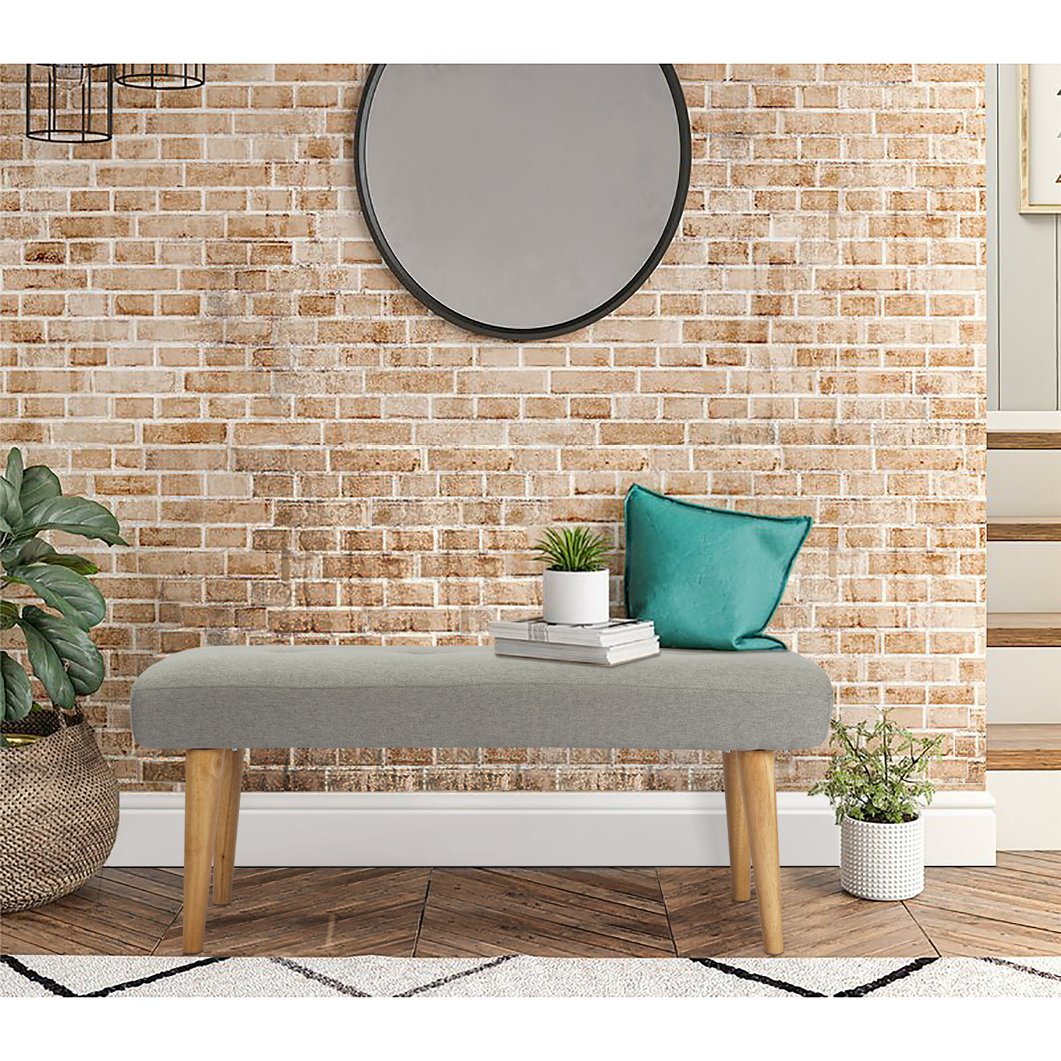 wide rectangle ottoman fabric bench for living room