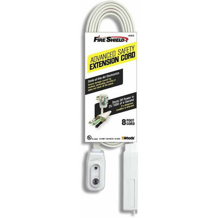 Fire Shield 41812 Advanced Safety Extension Cord, 16/3, 8' Cord