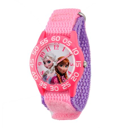 Disney Frozen Anna   Elsa Girls Plastic Case Watch  Pink Nylon Strap