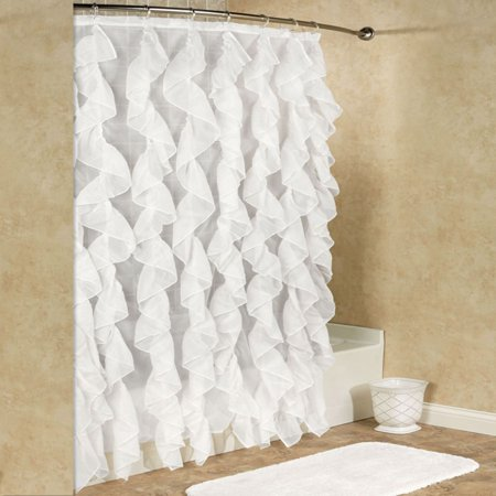 Sweet Home Collection Cascade Chic Sheer Voile Vertical Waterfall Ruffled Shower Curtain