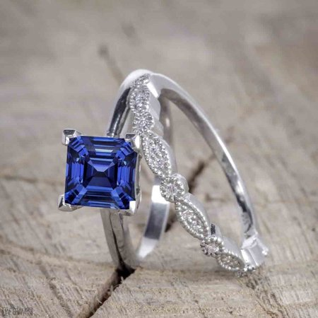 Antique Art Deco 1.25 Princess Cut Sapphire and Diamond Wedding Ring Set in White Gold Antique Art Deco Ring