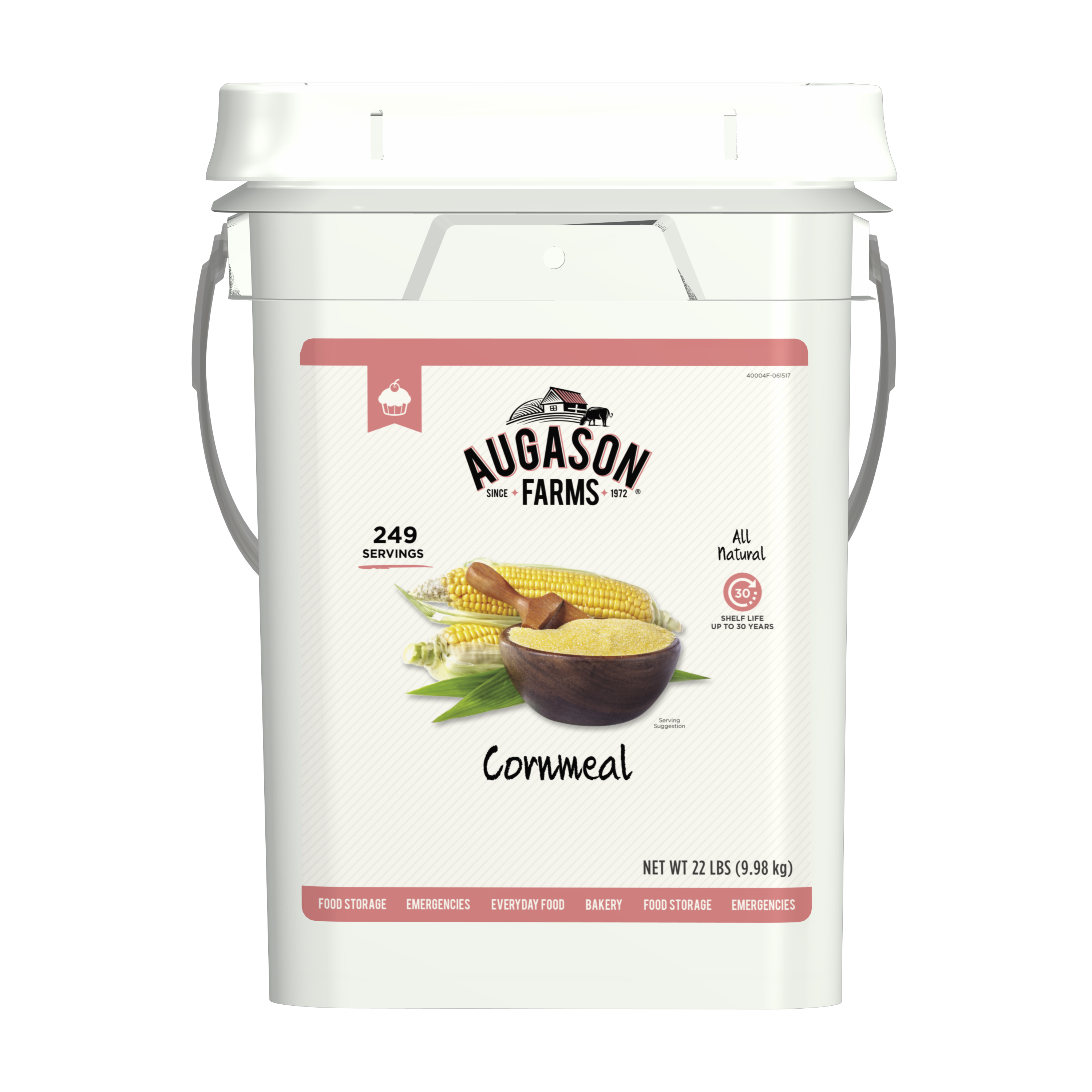 Augason Farms Cornmeal 22 Pound Pail