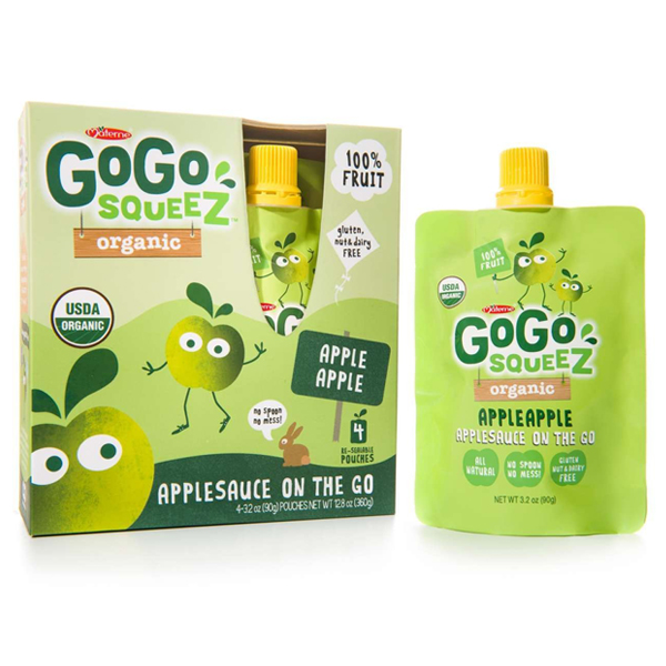 GoGo Squeez Organic Apple Apple Applesauce 3.2 oz Pouches - Box of 12/4-Pack Boxes