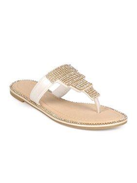 7d9692bf2b961 Product Image Liliana ED87 Women Leatherette Rhinestone T-Strap Boho Slip  On Sandal