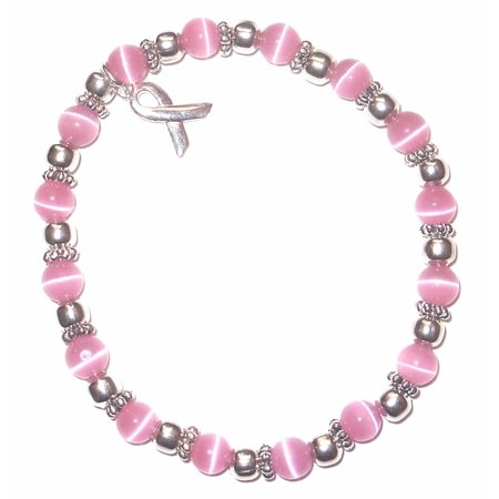 Breast Cancer Bracelet - 6mm Pink Breast Cancer Awareness - Stretch, Fits most adults, Packaged