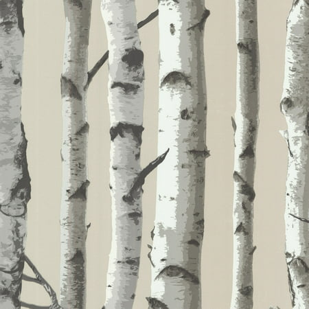 Brewster Irvin Grey Birch Tree Wallpaper