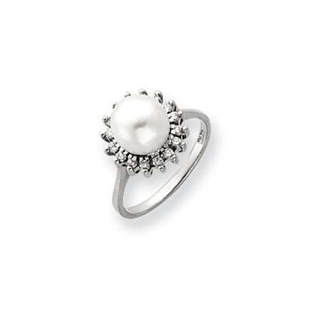 Solid 14k White Gold 7.5mm FW Cultured Pearl AA Diamond Ring - Size 4