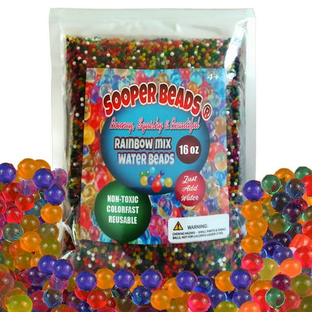 SooperBeads Water Beads 16 oz (45,000 beads) for Orbeez Spa Refill, Sensory Toys, and Decor (1 Pound) (Quatrefoil Beads)