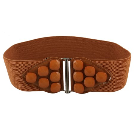 Interlocking Buckle Beads Detail Stretchy Brown Waist Belt Waistband for Ladies