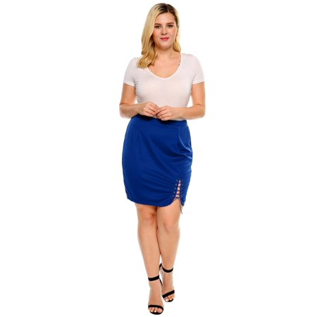 Meaneor Women Solid Criss Cross Lace Up Stretch Split Skirt HITC