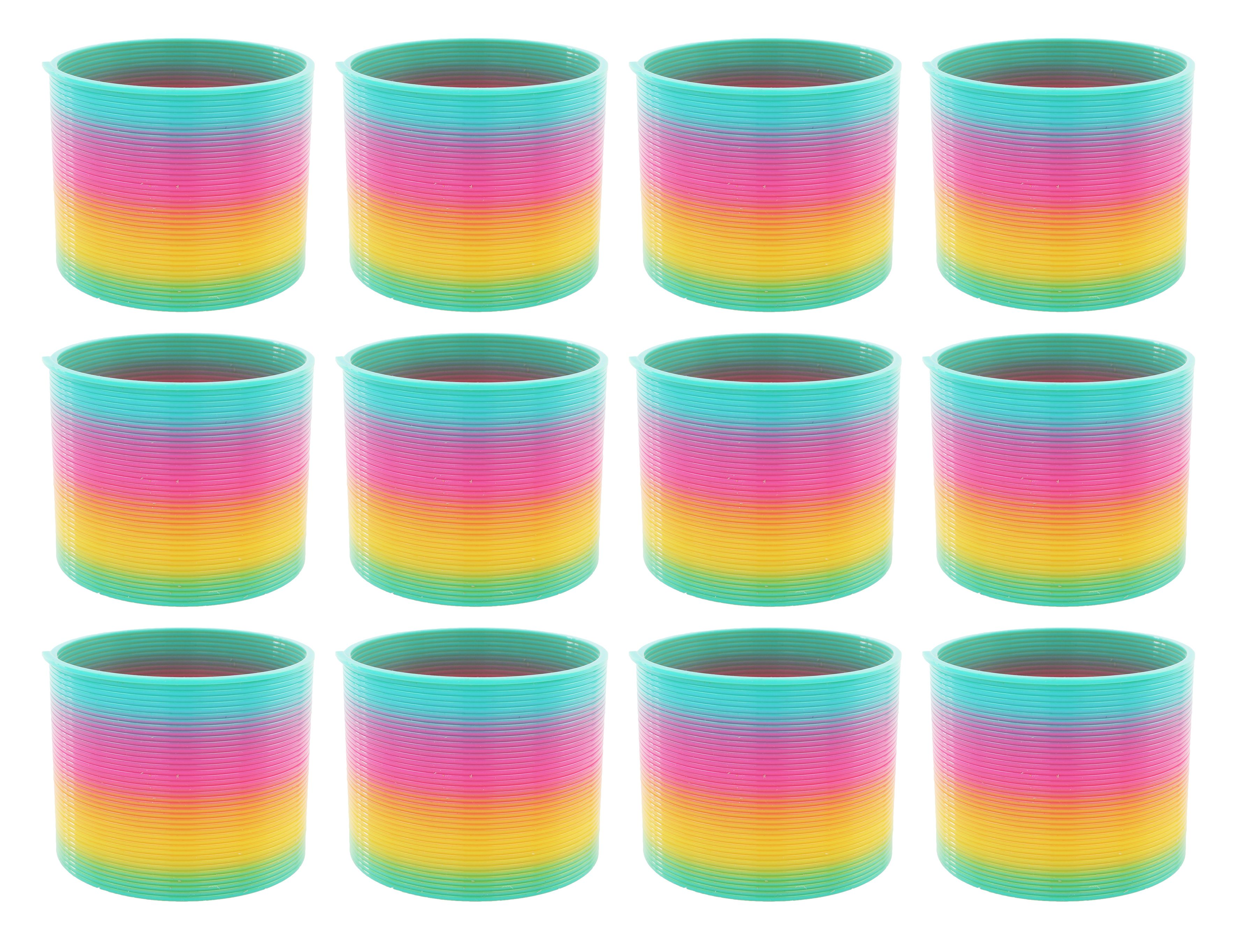 12 Pack Classic Slinky Spring Toy With Cool Rainbow Colors Plastic For Birthday Party Favors Goodie Bag Fillers Gifts