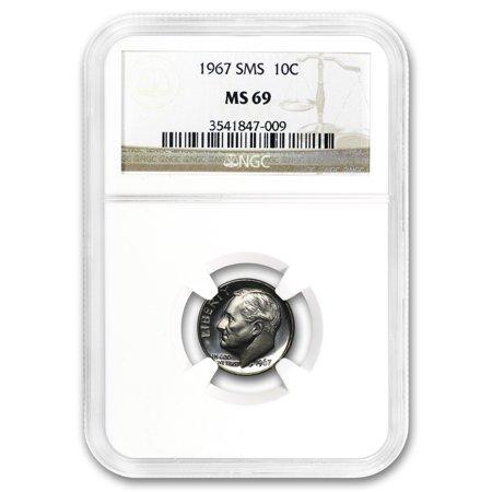 1967 Roosevelt Dime MS-69 NGC (SMS) (Sms Roosevelt Dime)