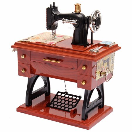 Fashion Vintage Treadle Sewing Machine Music Box Sartorius Toy Music Boxes Christmas Christmas Gift Musical Toys Hobbies Home Decor ()