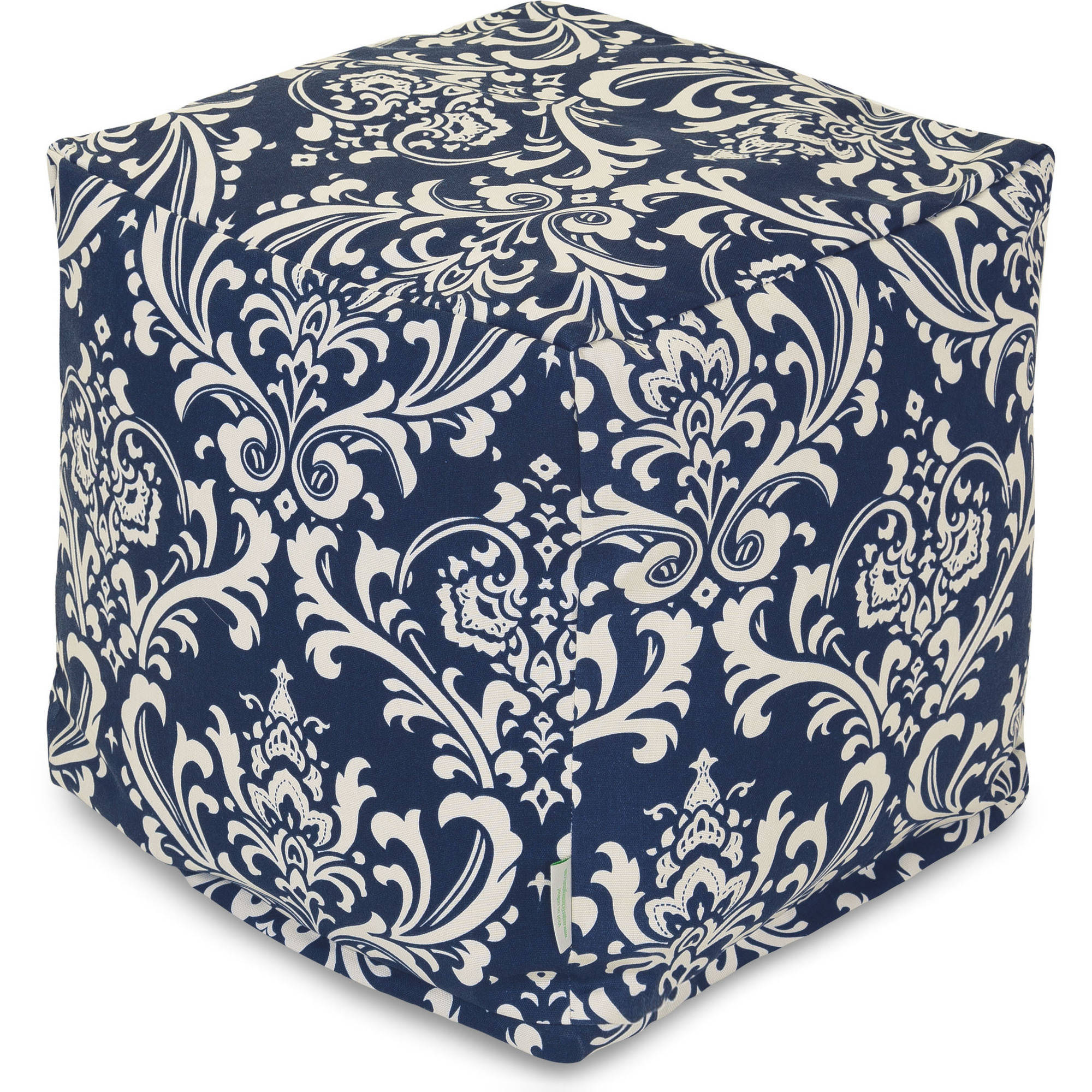 Majestic Home Goods Navy Blue French Quarter Bean Bag Cube, Indoor/Outdoor