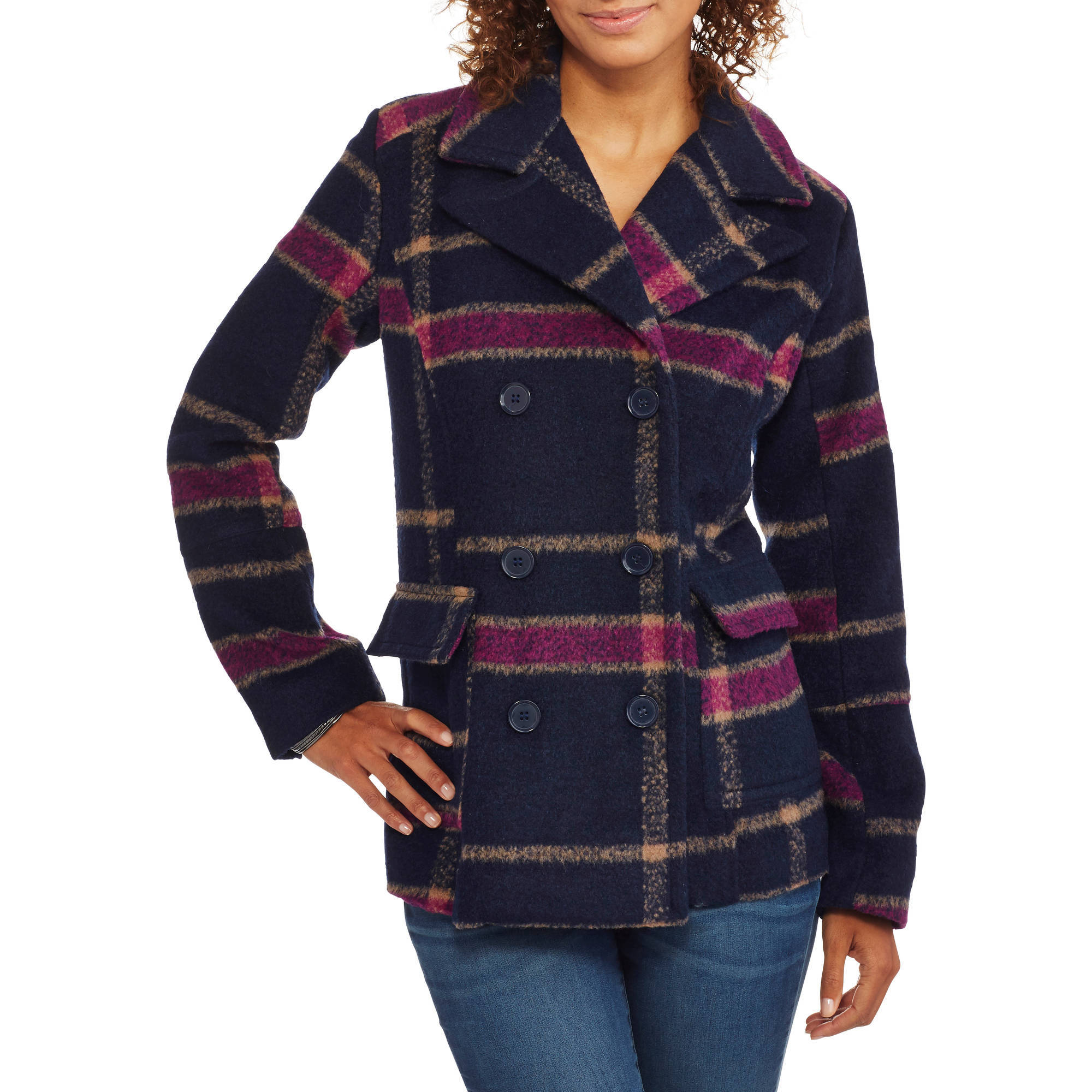 Women's Faux Wool Classic Plaid Double-Breasted Peacoat