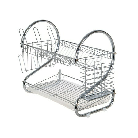 Calhome Chrome 2 Tiers Dish Drying Rack Drainer Dryer Tray Kitchen Rv Plate Cup Storage